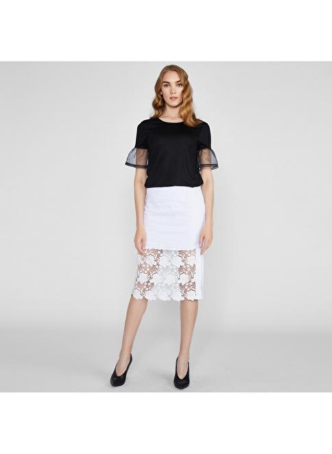 Vekem-Limited Edition Dantelli Keten Etek Beyaz